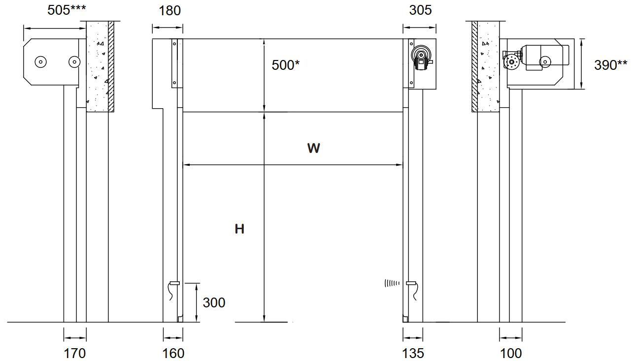 CM2 space required for high-speed internal door installation